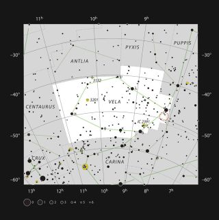 This chart shows the constellation Vela (The Sails); most of the stars that can be seen in a dark sky with the unaided eye are marked.
