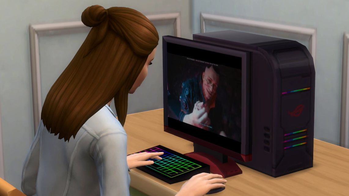 X6GWw4JESXFByYKxjqjmNf 1200 80 Your Sims can play Cyberpunk 2077 right now, even if you can't The Sims 4 Better Computer Games mod