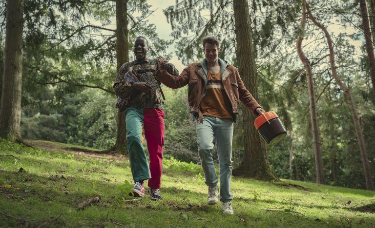 Ncuti Gatwa as Eric Effiong, Connor Swindells as Adam Groff in Episode 2 of Sex Education Season 3, Where was Sex Education filmed
