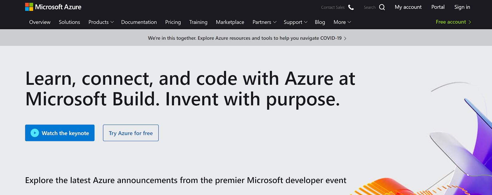 Microsoft Azure's homepage