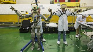 The Russian space agency Roscosmos is showing the humanoid Robt Skybot F-850 during tests on July 28, 2019 before launch on a Soyuz spacecraft MS-14.