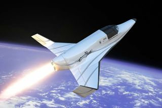 An artist's rendition of XCOR Aerospace's Lynx space plane high above the Earth. Roughly the size of a small private airplane, the craft is designed to make several flights a day into a zero-gravity environment.