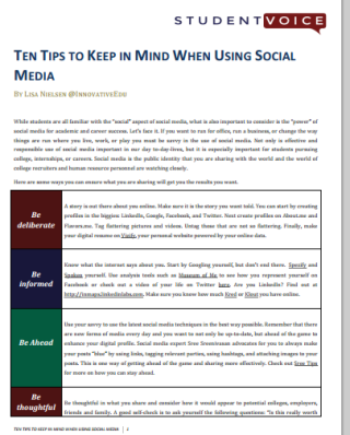 10 tips for students to keep in mind when using social media