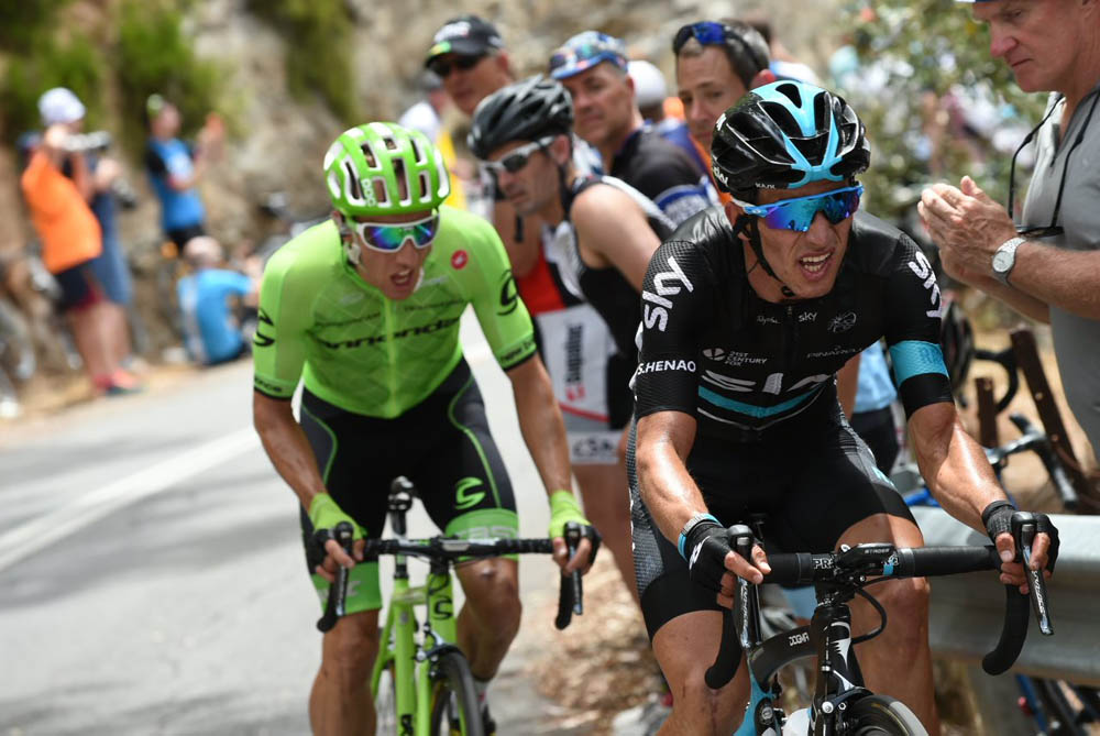 Sergio Henao and Michael Woods in action in the final kms of Stage 3 of the 15139b04c