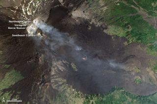 Volcano Mount Etna photographed by satellite.