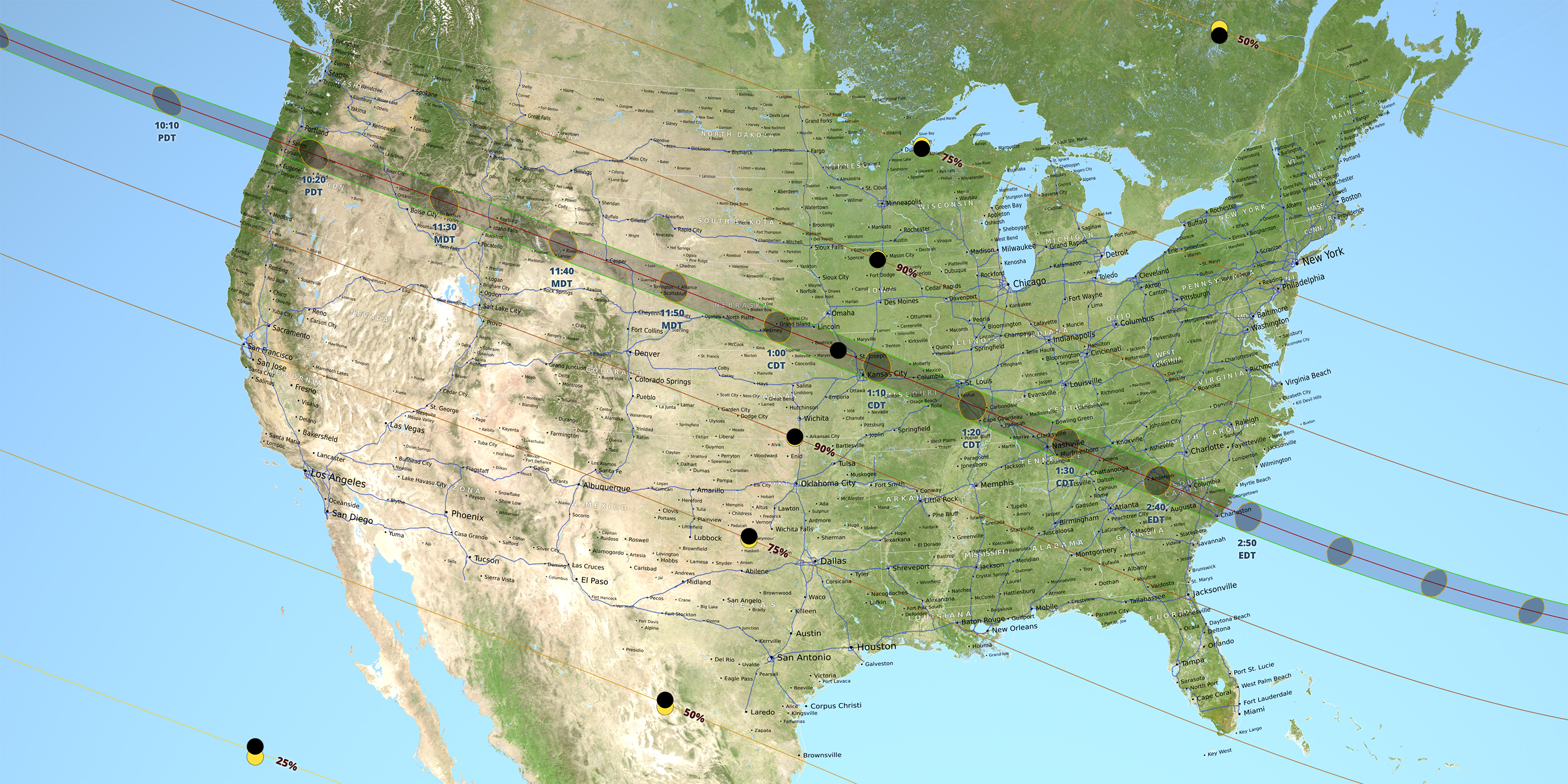 Partial Solar Eclipse Map.The 2017 Solar Eclipse Has Begun See What Time It Will Reach You