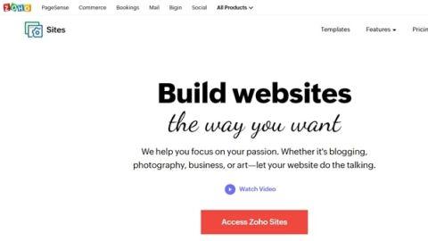 Zoho Sites' homepage