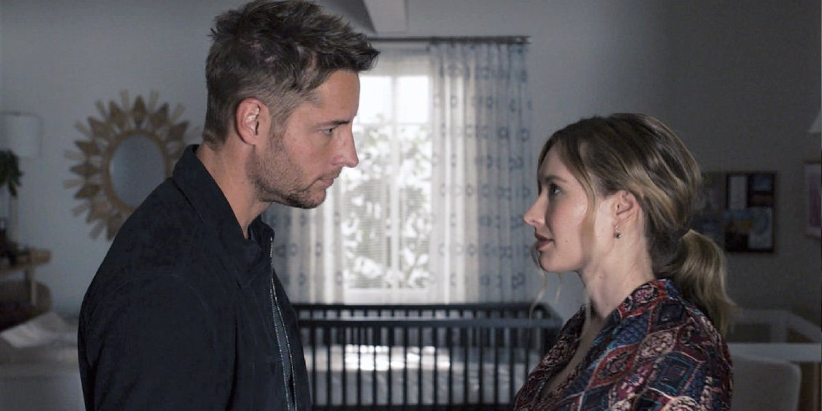 Justin Hartley as Kevin Pearson and Caitlin Thompson as Madison in This Is Us.