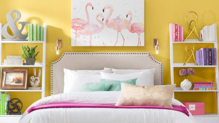 Yellow female bedroom idea by Wayfair