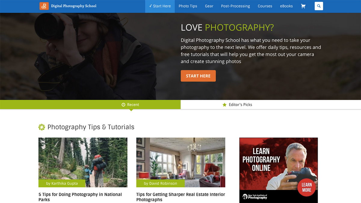 Photography websites: Digital Photographers School
