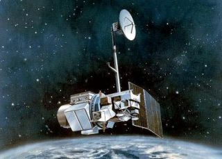 Illustration of Landsat 5 satellite in Earth orbit.
