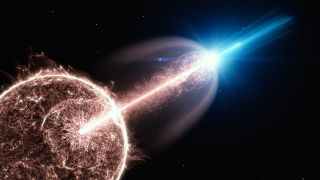 An artist's depiction of a gamma-ray burst's relativistic jet full of very-high-energy photons breaking out of a collapsing star.