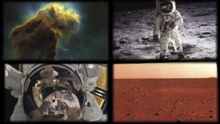 Images like these of (clockwise from top left) the Eagle Nebula, Apollo 11 astronaut Buzz Aldrin on the moon, the Martian landscape, and an astronaut self-portrait taken during a spacewalk bring the wonders of space exploration down to Earth.