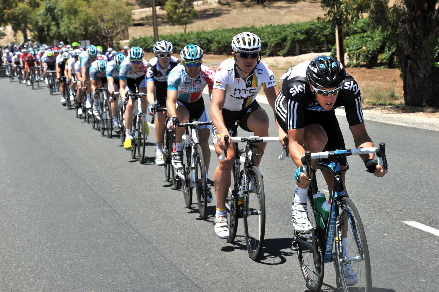 Matt Hayman chases, Tour Down Under 2011, stage one