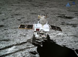 China's Yutu 2 rover, as seen by the Chang'e 4 lander on the far side of the moon.