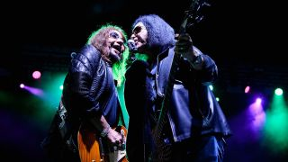 Ace Frehley and Gene Simmons at the recent Hurricane Harvey benefit show
