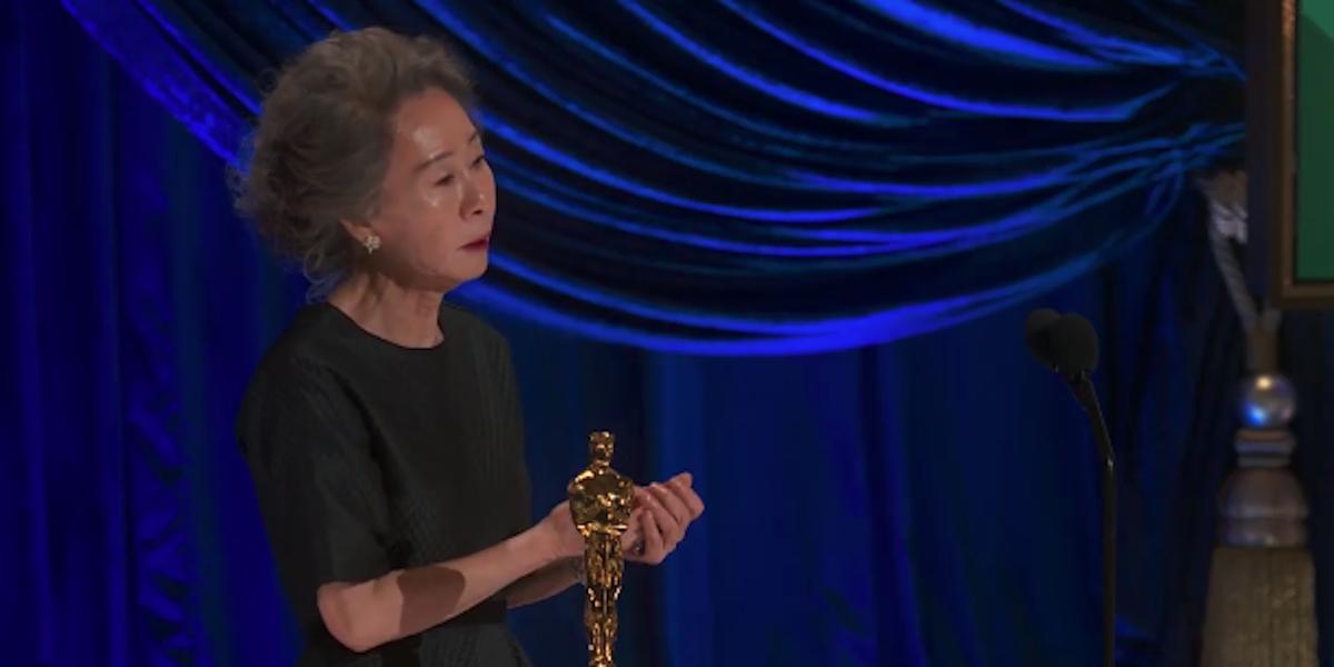 Yuh-Jung Youn accepting her Oscar for Minari 2021 award ceremony
