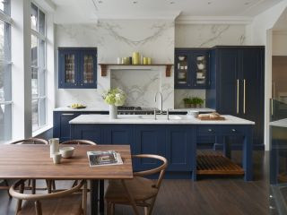 A blue shaker kitchen design
