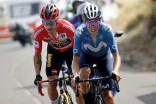 Enric Mas (Movistar) leads Vuelta a Espana leader Primoz Roglic (Jumbo-Visma) on stage 9