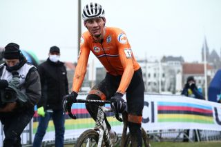 Dutch Mathieu Van Der Poel after winning the mens elite race at the UCI Cyclocross World Championships in Oostende Belgium Sunday 31 January 2021 BELGA PHOTO POOL Photo by POOLBELGA MAGAFP via Getty Images
