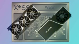 An image depicting two graphics cards, one AMD and one Intel, over the XeSS golden logo