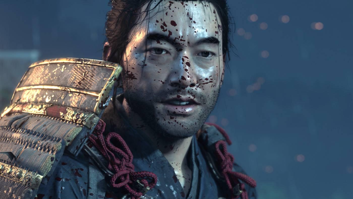 Jin Sakai covered in blood spray