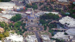 An aerial view of an empty Walt Disney World in Florida.