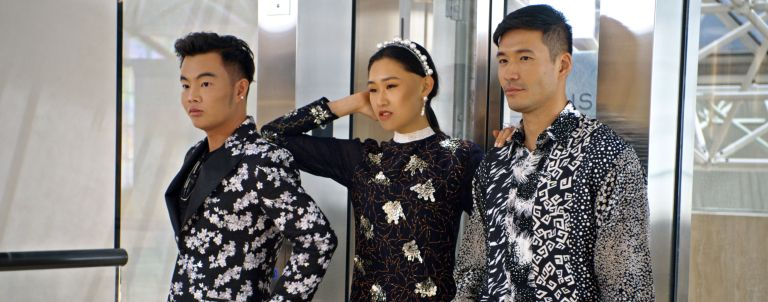 "Kane Lim, Jaime Xie and Kevin Kreider in episode 8 ""Will You Marry Me?"" of Bling Empire"