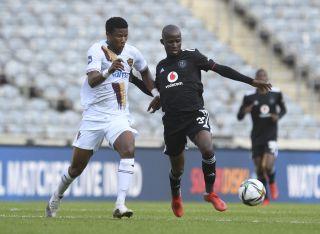Terrence Dzvukamanja challenged by Sibusiso Mthethwa
