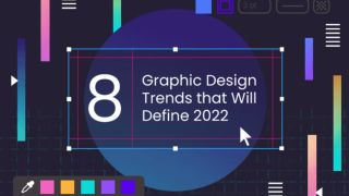 """""""8 Graphic Design Trends that Will Define 2022"""" on a graphic."""