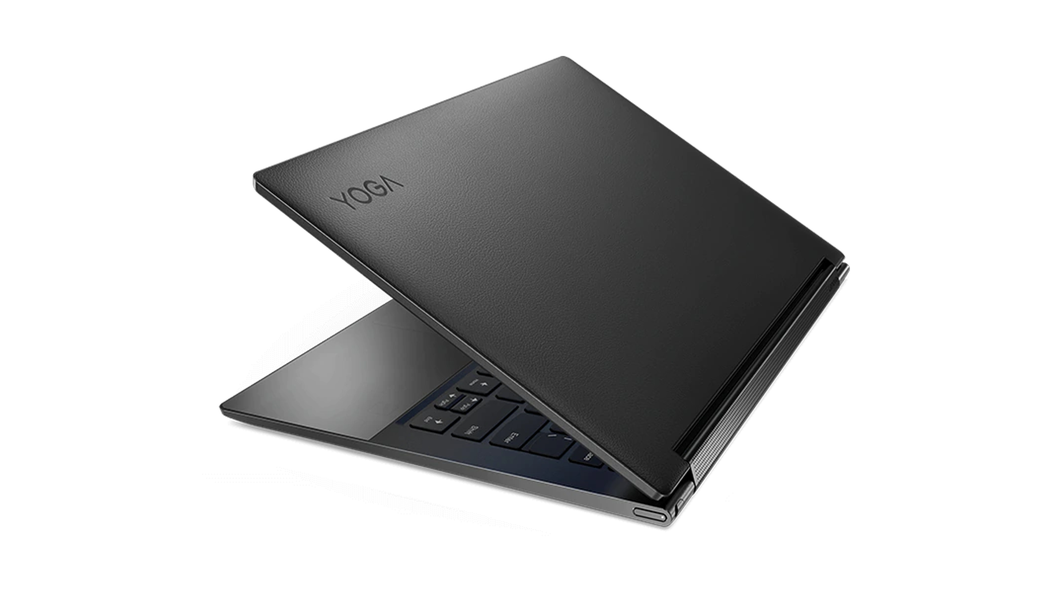 The Lenovo Yoga 9i partially closed against a white background