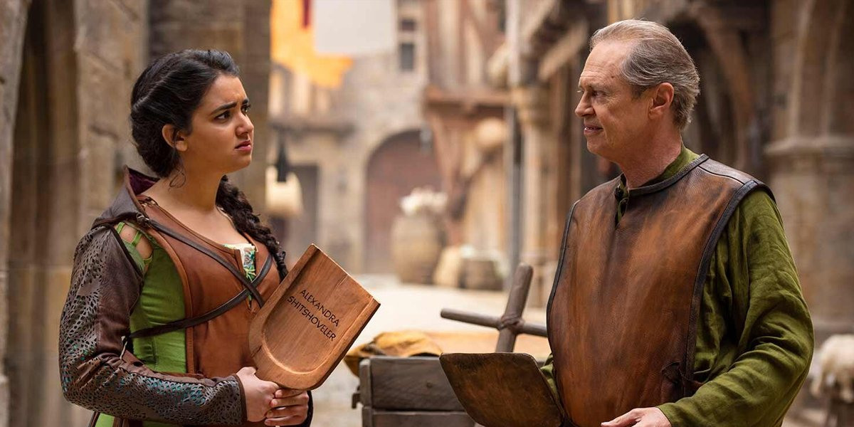 Geraldine Viswanathan and Steve Buscemi in Miracle Workers: Dark Ages