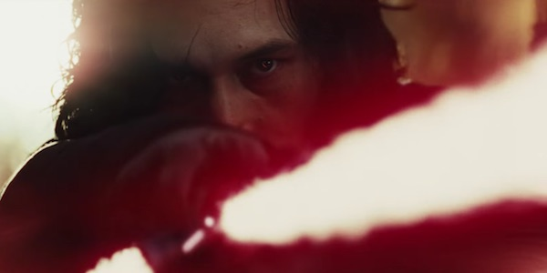 Kylo Ren with lightsaber in Star Wars: The Last Jedi