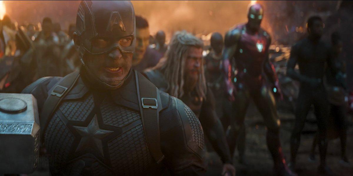 The Avengers assembling in Avengers: Endgame