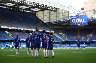 Kai Havertz celebrating his goal with Chelsea teammates