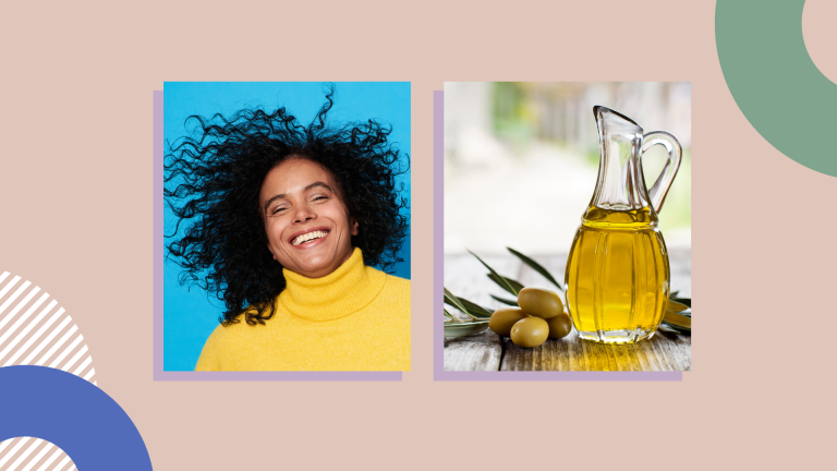 woman smiling and bottle of olive oil on pink background