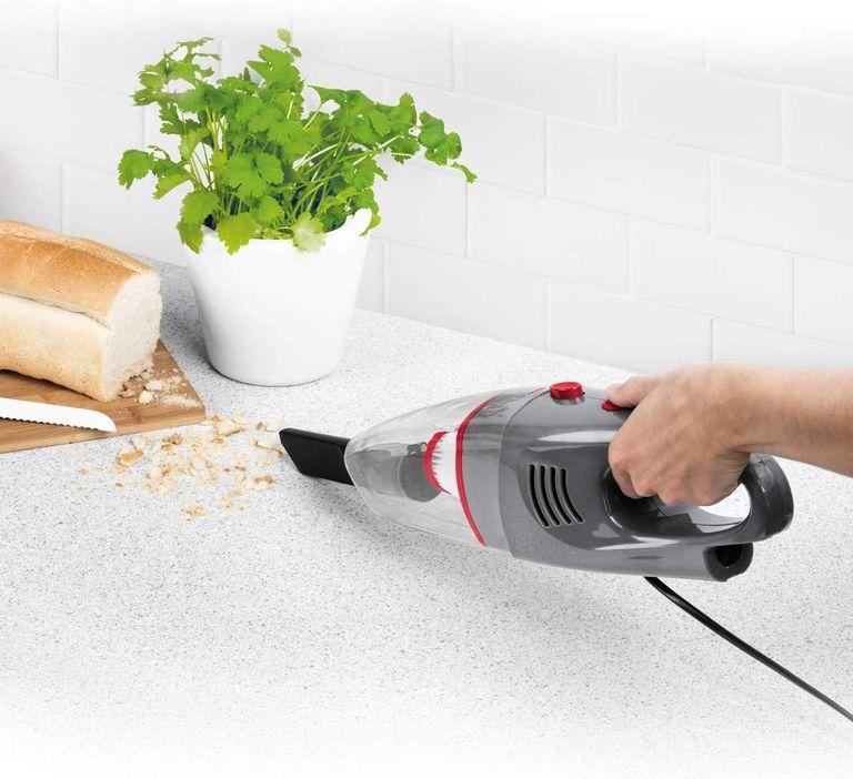 Cheap vacuum cleaner: Beldray BEL0770N-GRY 2-in-1 Multifunctional Vacuum Cleaner being used on kitchen worktop