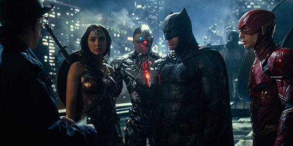 Wonder Woman, Cyborg, Batman and Flash in Justice League