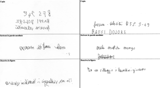 Image shows examples of the Italian patient's handwriting, who wrote normally with the right hand but wrote backwards with the left hand.