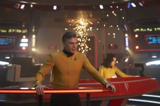 "Pike (Anson Mount) guides the Enterprise through its most deadly battle yet in the ""Star Trek: Discovery"" Season 2 finale, ""Such Sweet Sorrow – Part II."""