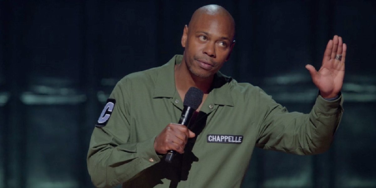 Dave Chappelle in his comedy special, Sticks & Stones, on Netflix.