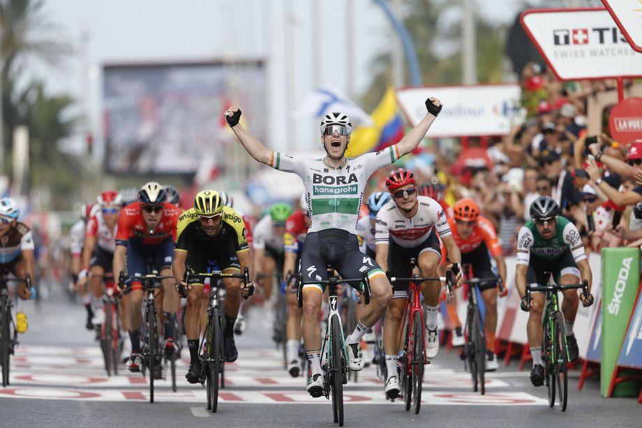 Sam Bennett tears sprint apart to win stage three of Vuelta