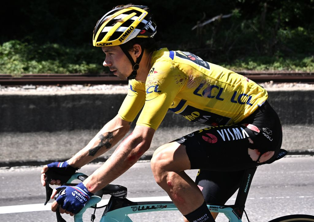 Primoz Roglic crashed hard during stage 4 of the Criterium du Dauphine