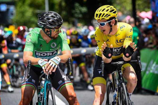 Peter Sagan and Geraint Thomas chat before the start of stage 15