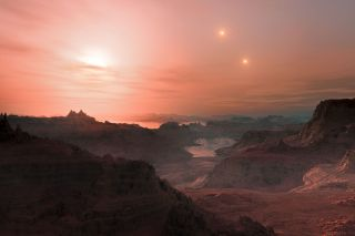 Artist's Impression of Sunset on the Super-Earth World Gliese 667 Cc