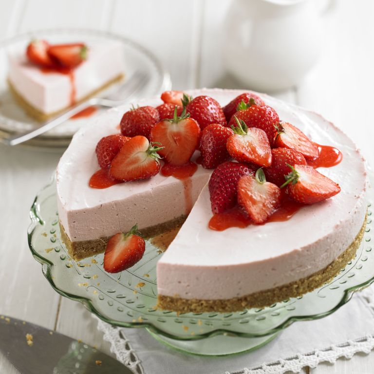 Strawberry Cheesecake with strawberry sauce recipe-recipe ideas-new recipes-woman and home