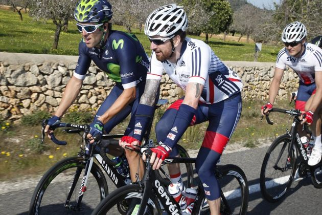 Alex Dowsett and Bradley Wiggins on day one of the Challenge Mallorca