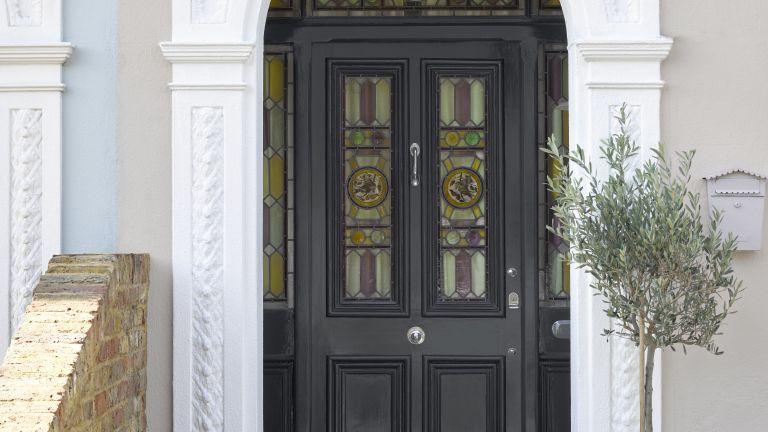 Front door in black by Sandtex