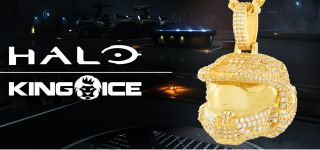 King Ice Logo with gold master chief helmet
