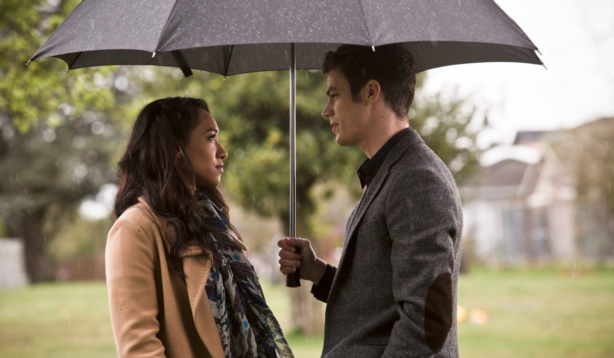 the flash iris barry in the rain at cemetary the cw